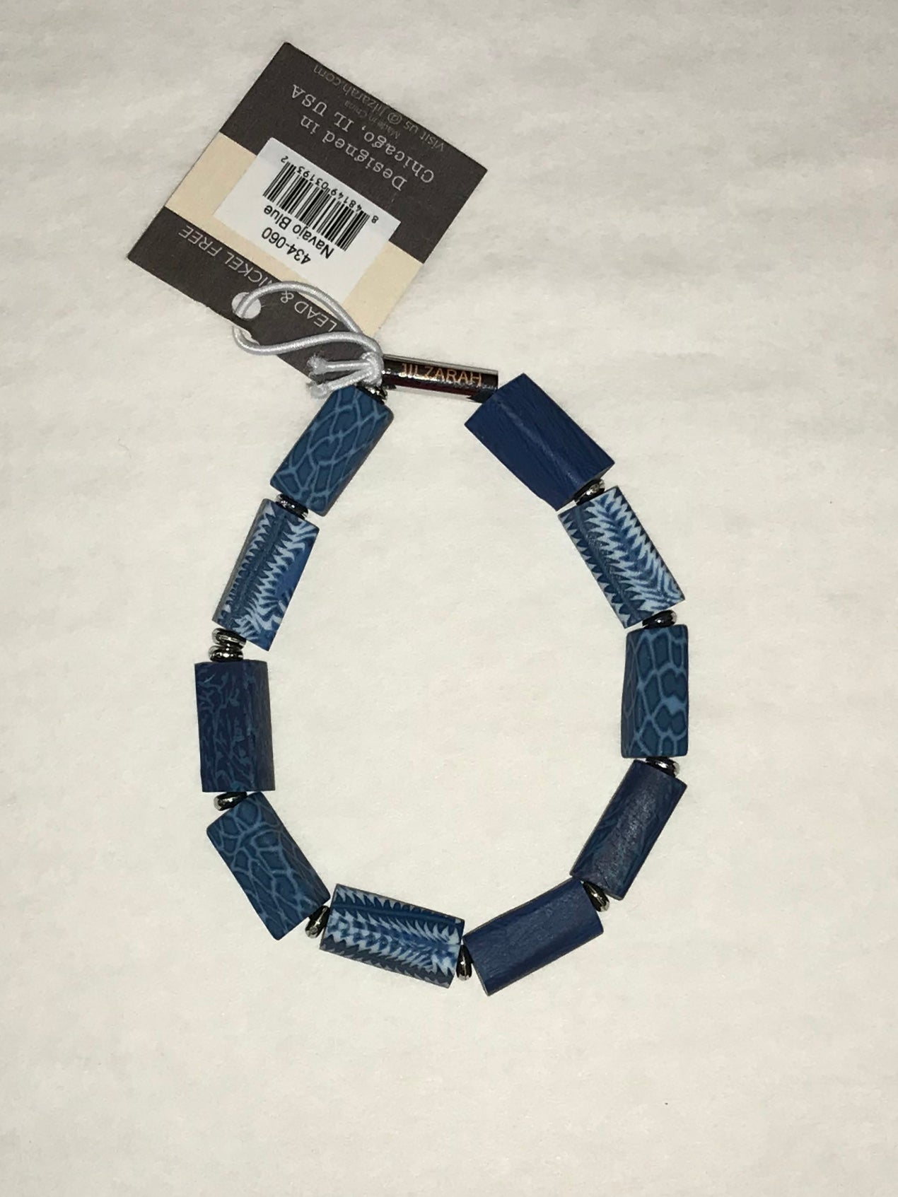 Blue Square Clay Bead Bracelet