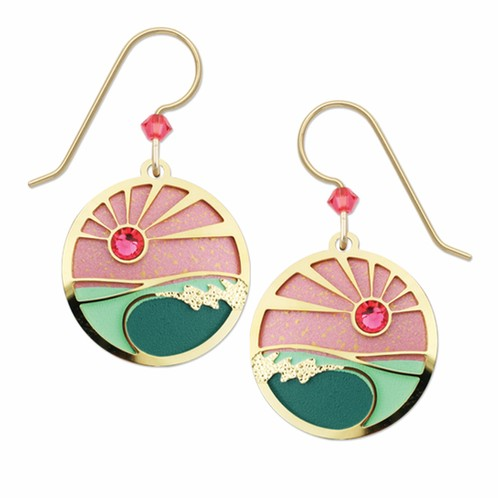 Pink Sunrise with Gold Overlay Earring
