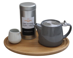 Forlife Teapot Grey, Bamboo Tray, Creamer & Countess Earl Grey 100g Caddy - Mystic Brew Teas