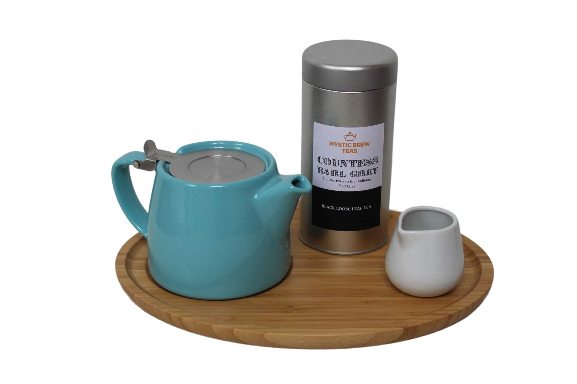Forlife Teapot Turquoise, Bamboo Tray, Creamer & Countess Earl Grey 100g Caddy - Mystic Brew Teas