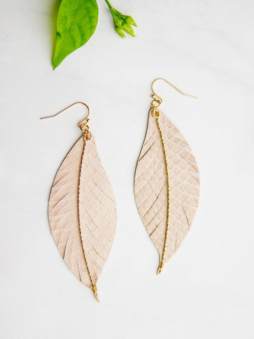 leather earrings neutral gold