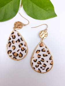 GOLD LEOPARD TEARDROP EARRINGS