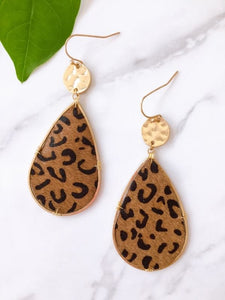 leather earring leopard print