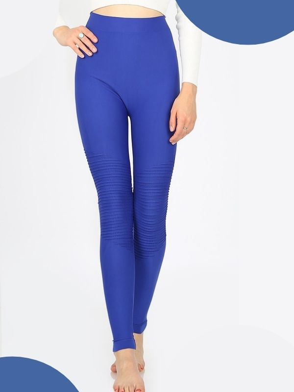 WOMEN'S MOTO LEGGINGS - BLUE