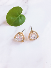 Load image into Gallery viewer, cubic zirconia trillion cut gold earrings