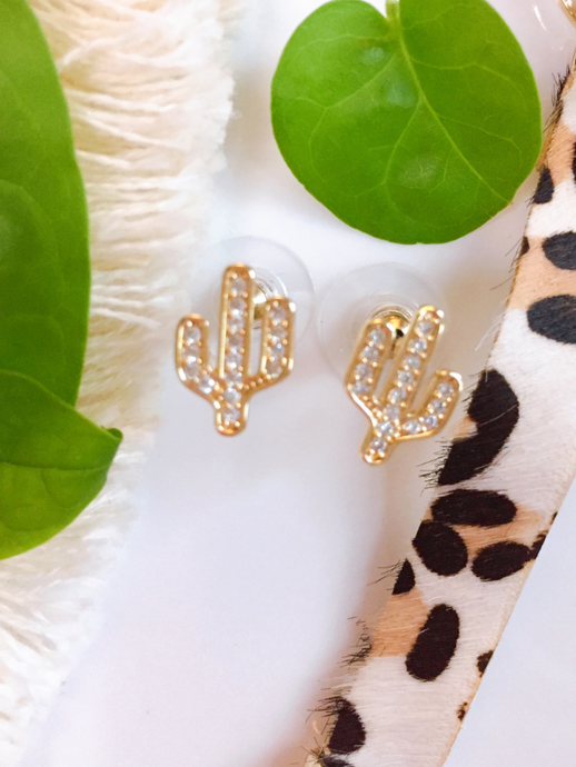 cubic zirconia cactus earrings