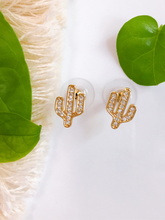 Load image into Gallery viewer, cubic zirconia cactus earrings