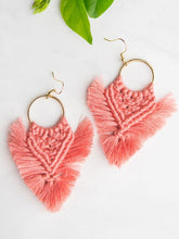 Load image into Gallery viewer, pink boho fringe tassel earrings