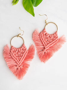 pink boho fringe tassel earrings