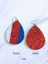 Load image into Gallery viewer, usa glitter earrings