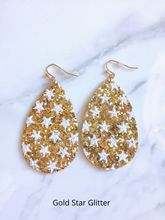 Load image into Gallery viewer, gold star glitter earrings