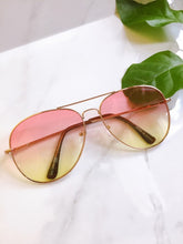 Load image into Gallery viewer, 2 two tone aviator sunglasses pink yellow