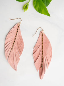leather earring pink gold
