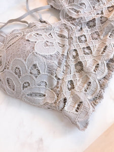gray lace bra