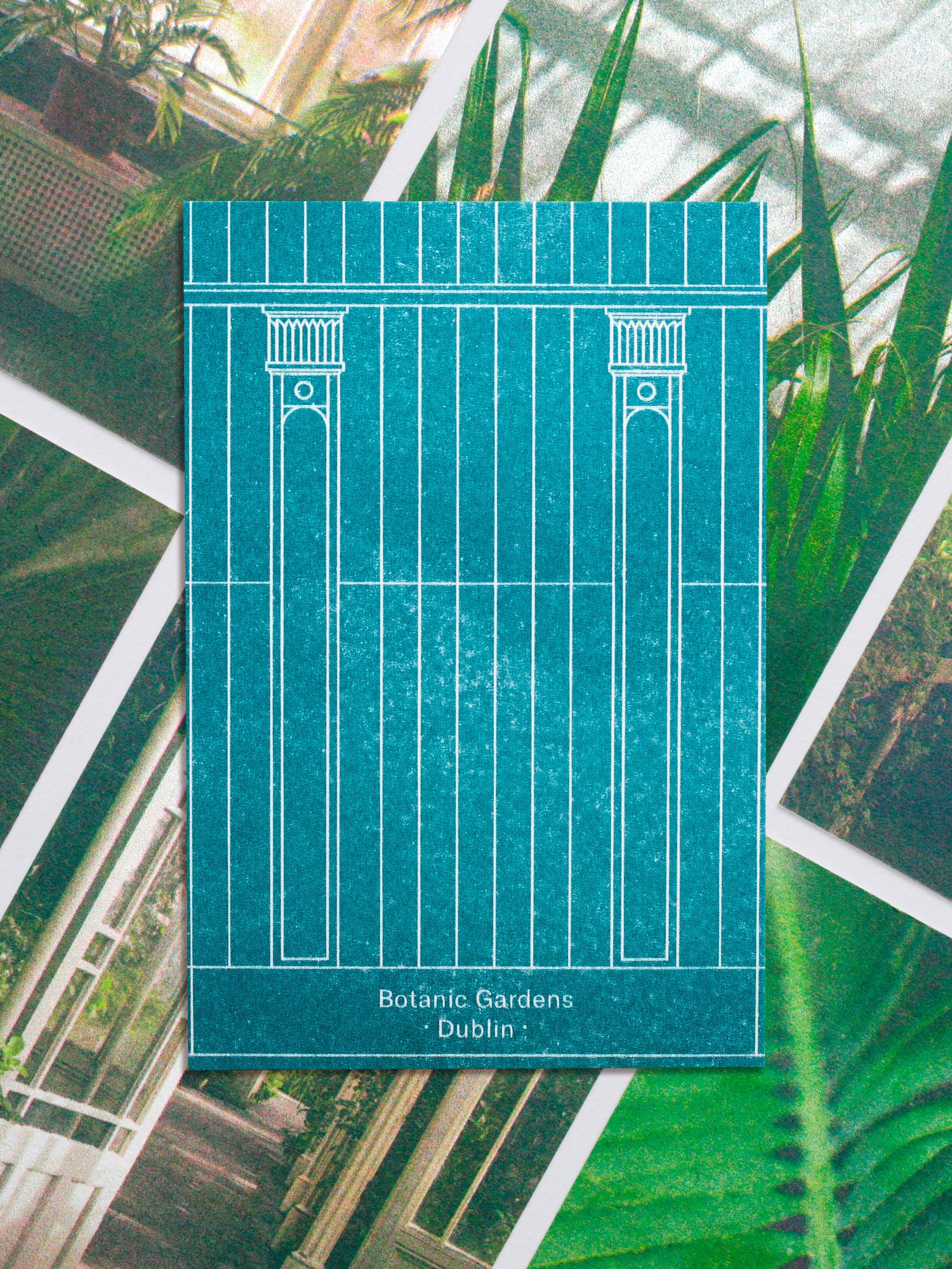 Postcards featuring an illustration inspired by the architecture of the botanic gardens in Dublin.