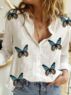 White V Neck Cotton-Blend Printed Casual Shirts & Tops