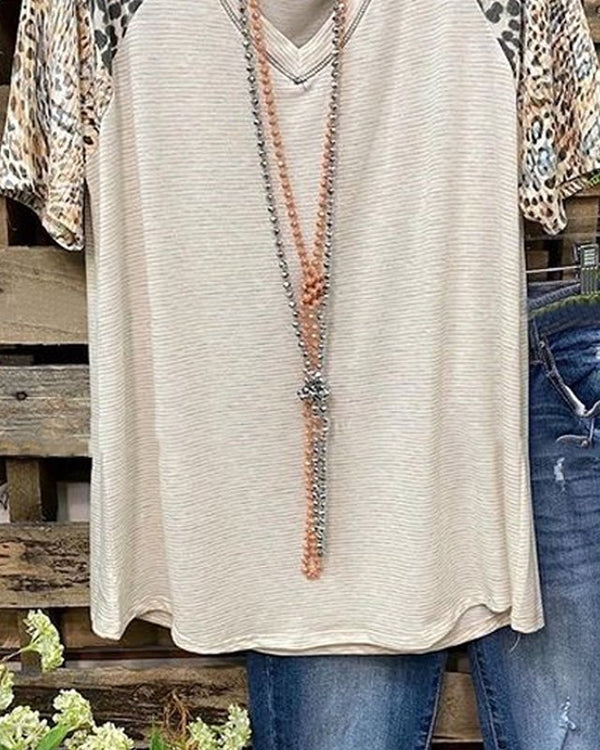 Leopard Short Sleeve  Printed  Cotton-blend  V neck  Casual  Summer  Light Khaki Top