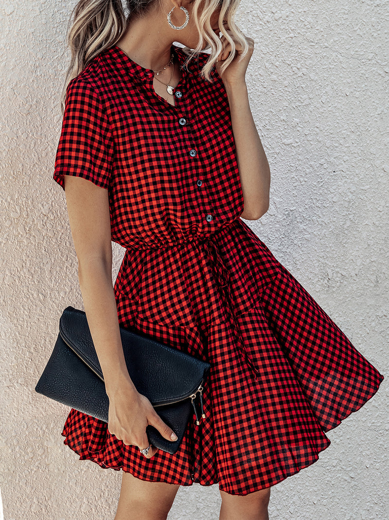 Stand Collar A-Line Daily Checkered/plaid  Mini Dress