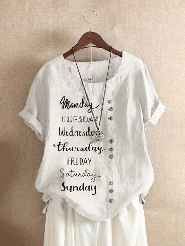 White Casual Letter Cotton-Blend Shirts & Tops