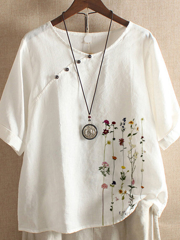 White Crew Neck Short Sleeve Floral-Print Shirts & Tops