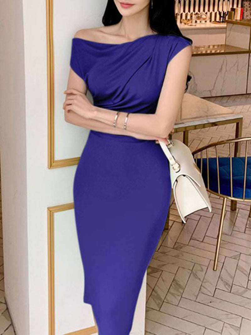 One Shoulder Green Solid Sheath Going Out Date Work Dress