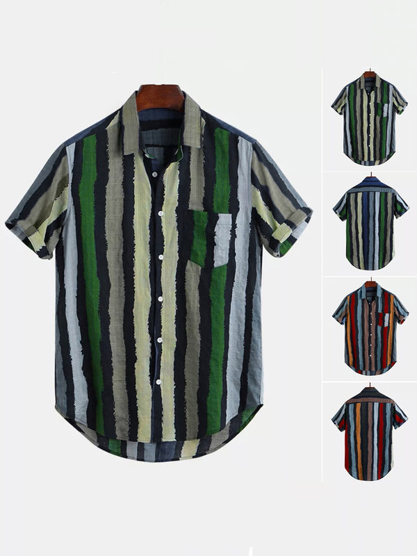 Short sleeve men's striped loose pocket casual shirt men