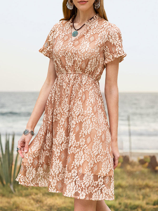 Women Fairy Ruffled Frill Sleeve Lace Dresses