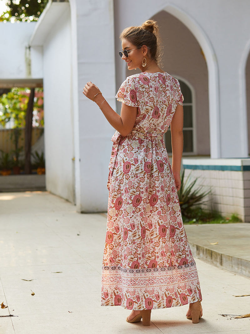 V Neck Dresses Shift Beach Boho Floral Dresses