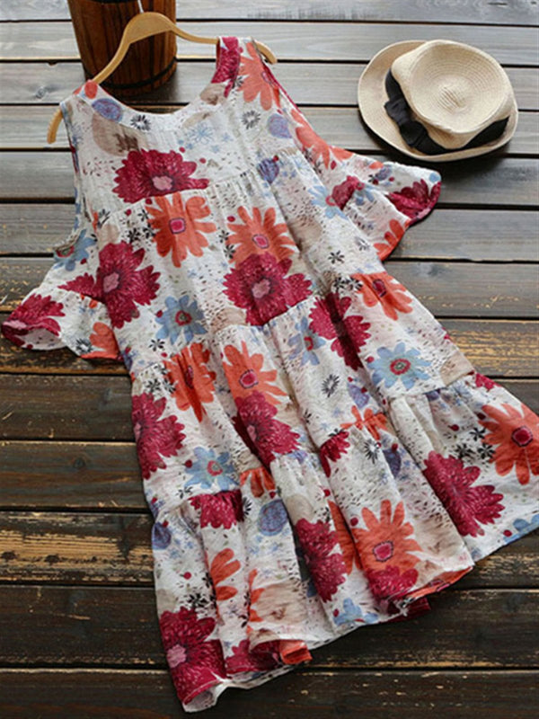 Printed Short Sleeve Crew Neck Casual Dresses