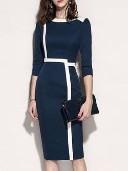 3/4 Sleeve Shift Slit Zipper Paneled Solid Midi Dress