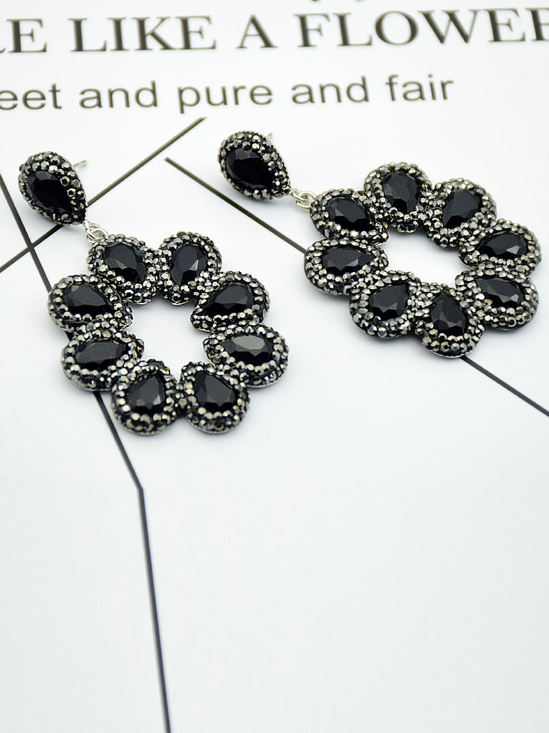 Black Rhinestone Crystal Alloy Elegant Earrings