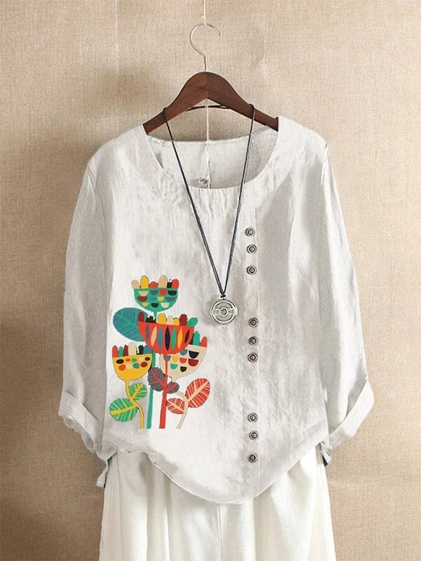 Floral Shift Long Sleeve Crew Neck Shirts & Tops