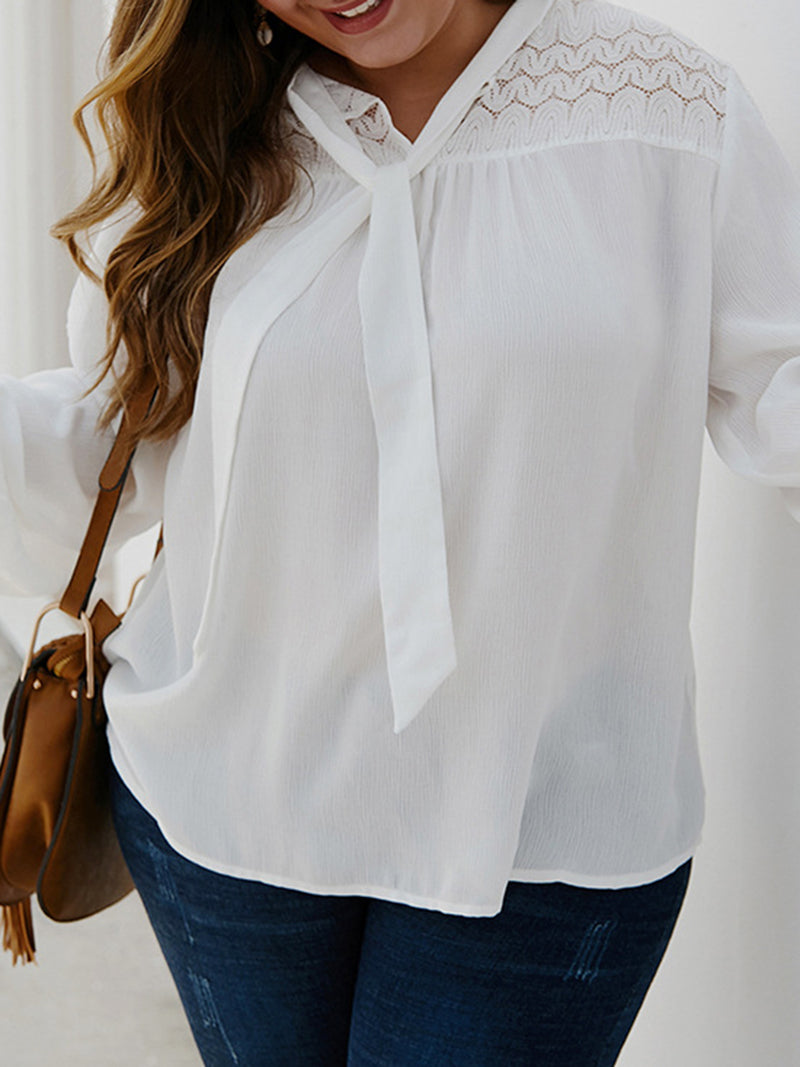 White Tie-Neck Long Sleeve Shirts & Tops