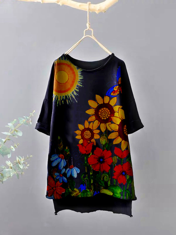 Black Cotton-Blend Floral Short Sleeve Shirts & Tops