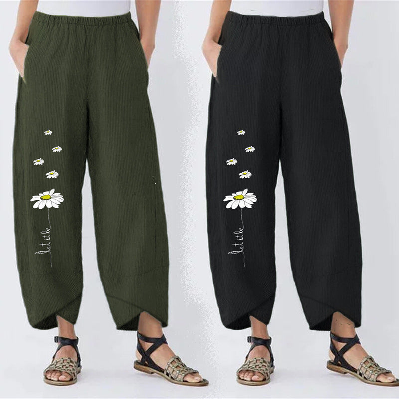 Floral-Print Pockets Casual Pants