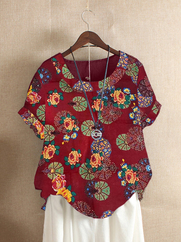 Crew Neck Cotton-Blend Floral Short Sleeve Shirts & Tops