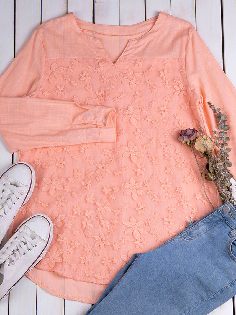 V Neck Casual Embroidered Tops