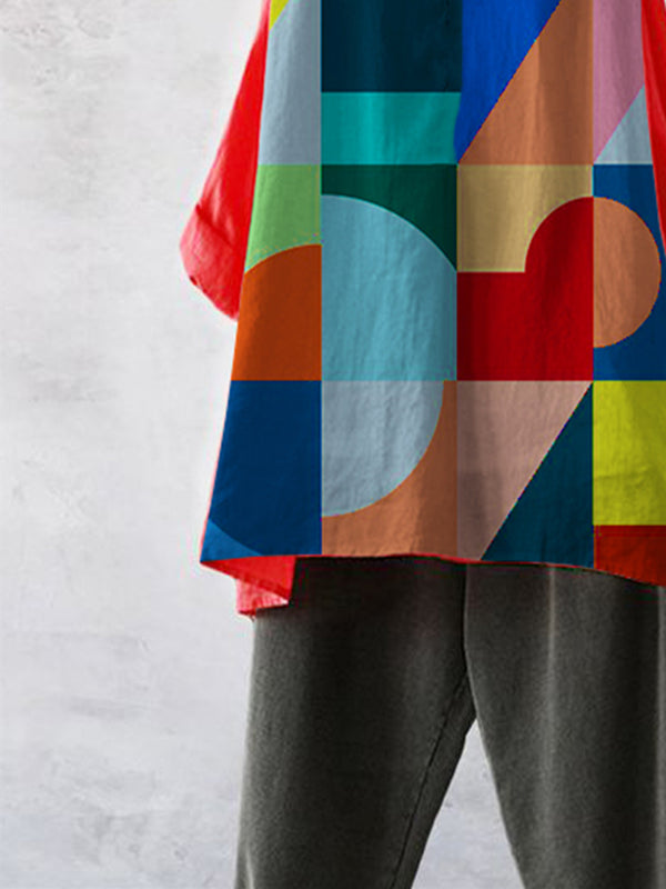 Color Geometric Casual Cotton-Blend Shirts & Tops