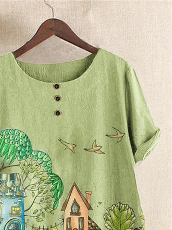 Green Cotton-Blend Floral-Print Vintage Shirts & Tops