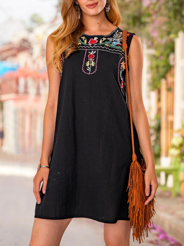 Black Cotton Embroidered Sleeveless Shift Dresses