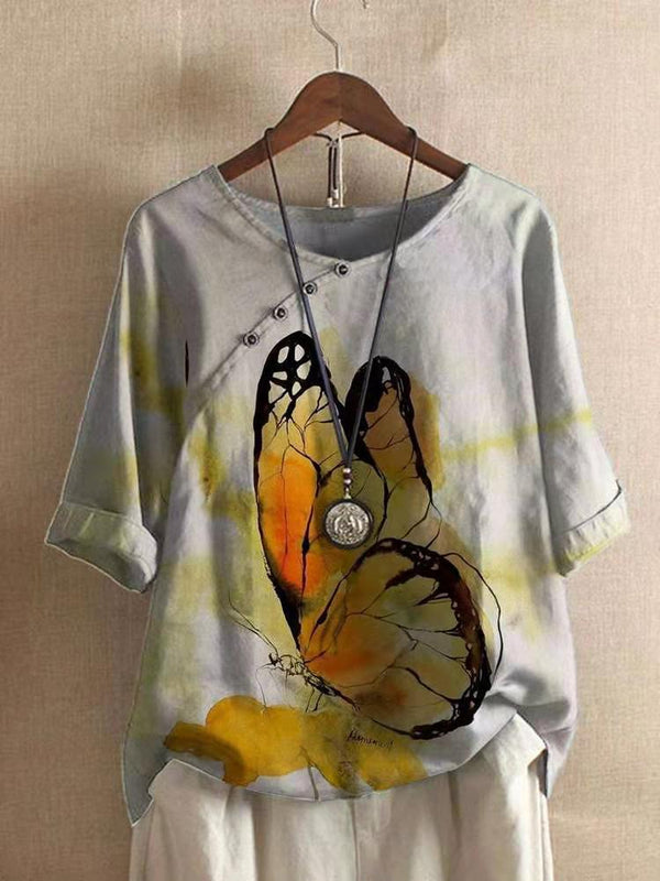 Half Sleeve Butterfly Vintage Shift Shirts & Tops