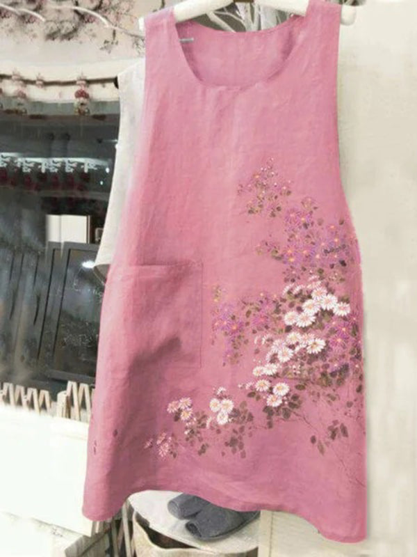 Casual Sleeveless Round Neck Plus Size Embroidered Dress