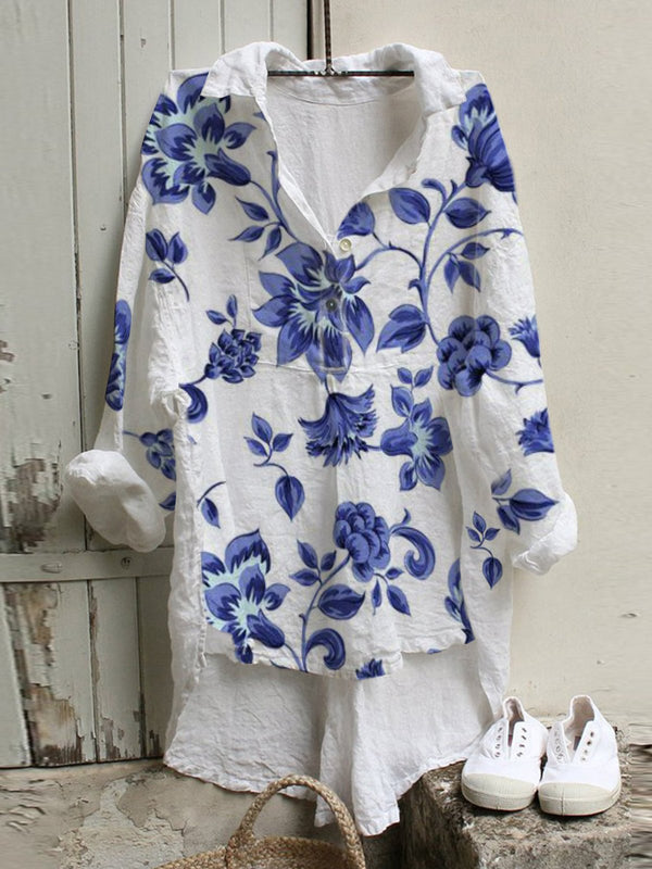 White Cotton-Blend Casual Floral Shirts & Tops