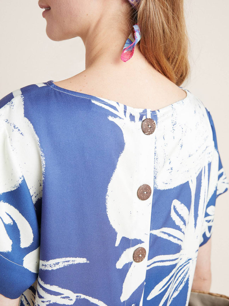 Bateau/boat Neck Blue Shift Beach Casual Printed Midi Dress