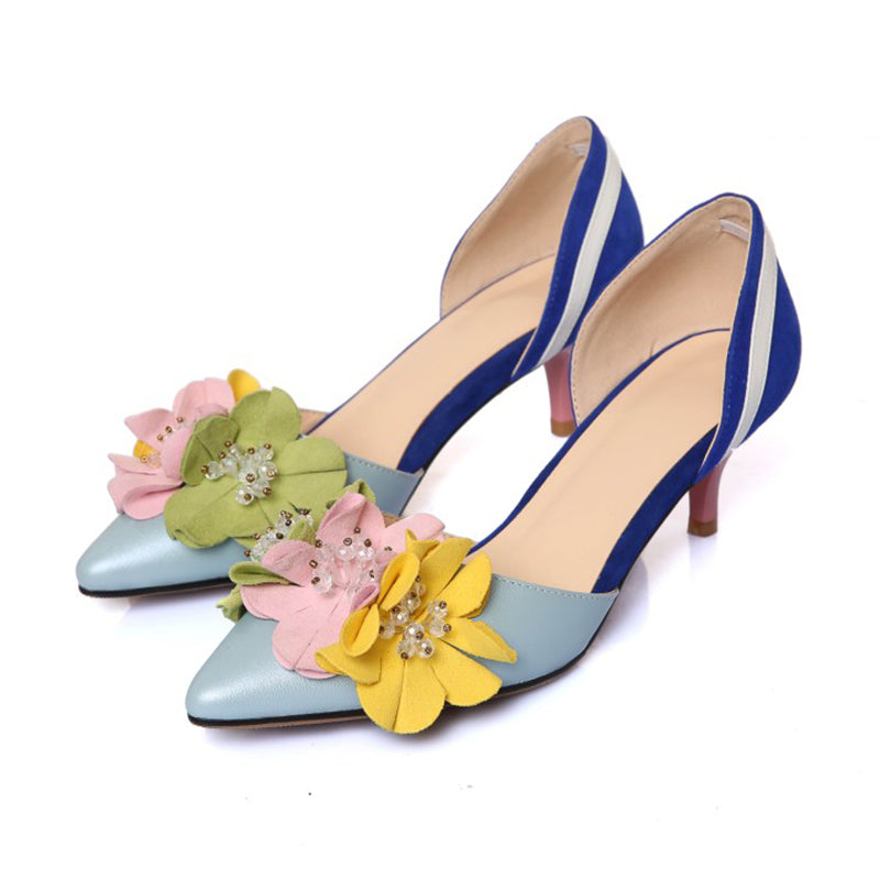Leather Kitten Heel Color Block Flower Shoes