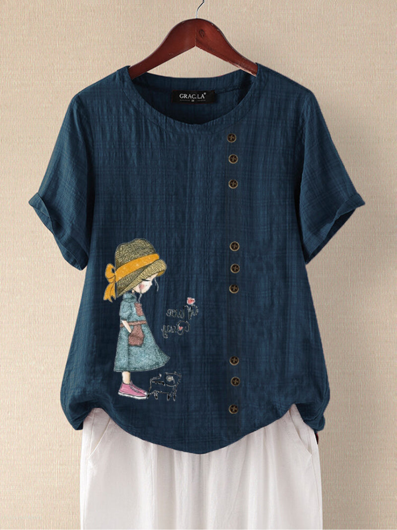 Navy Blue Floral-Print Kids Casual Shirts & Tops