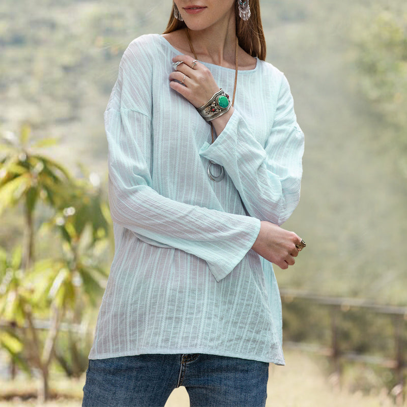Women Holiday Crew Neck Jacquard Shirts & Tops