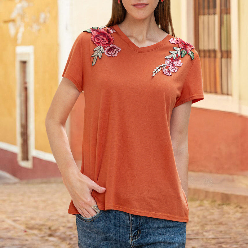 Women Crew Neck Short Sleeve Embroidery Tee