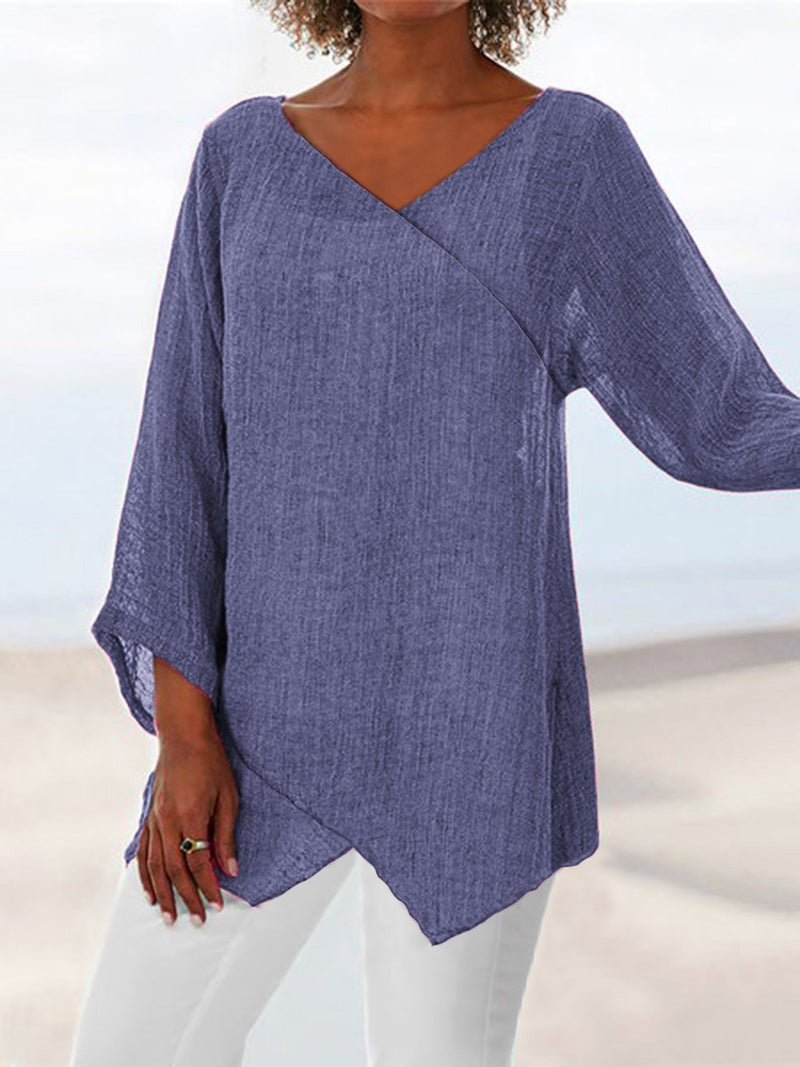 Paneled V Neck Solid 3/4 Sleeve Shirts & Tops