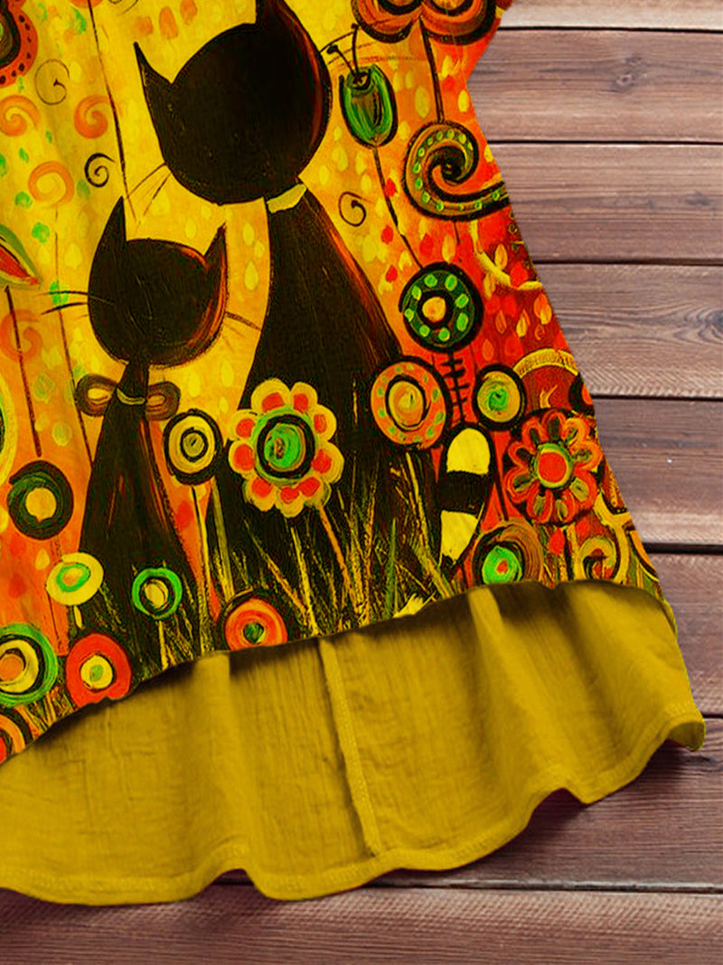 Yellow Statement Cotton-Blend Shirts & Tops